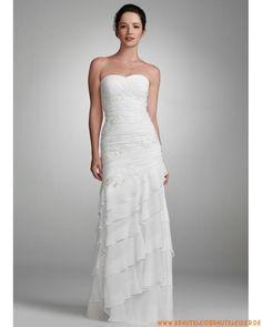 vintage traumhafte Brautkleider aus Chiffon trägerlosige Mode