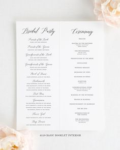 This folded wedding program matches our Garden Romance design. Booklet programs are available in two sizes, 5x8 #luxurywedding