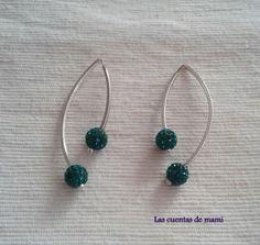 Pendientes plata y strass verde