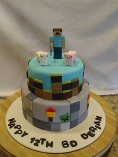 aiden bday sweetpopcakeshop: Geeky and Awesome Minecraft Cake Minecraft Birthday Party, Minecraft Cake, Birthday Ideas, 9th Birthday, Birthday Cakes, Minecraft Stuff, Minecraft Crafts, Minecraft Ideas, Minecraft Skins