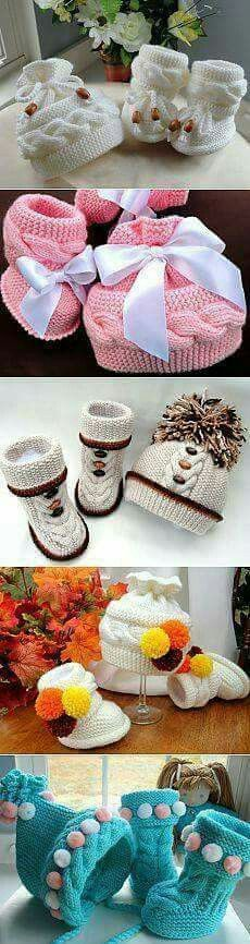 Knitted baby boots and hat