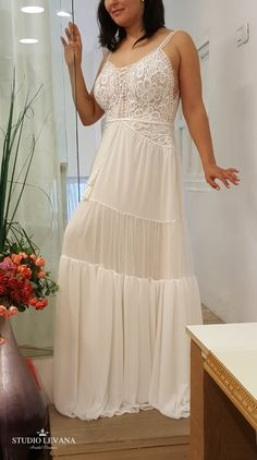 Plus size boho chic wedding gown on a real bride. Studio Levana