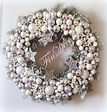 Stroik Świąteczny biel i srebro