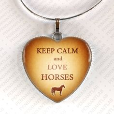 Keep Calm and Love Horses Pendant, Horse Jewelry, Horse Necklace, Christmas Gift, Charm, Horse Lady Gift, Gifts for Girl, Horse Lover
