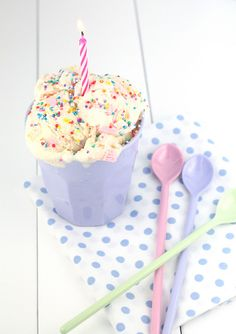 Birthday Cake Batter Ice Cream- by Made With Pink
