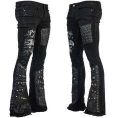 • Made at time of order• Customized denim rocker pants• Boot cut, low rise• Salvaged, distressed leather• Hand printed exclusive Wornstar skulls• Hand set metal