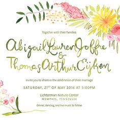 Sweet garden inspired wedding invitation illustrated by Laura Shema for Jolly Edition