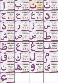 l alphabet arabe Alphabet Poem, Arabic Alphabet Letters, Arabic Alphabet For Kids, Learning To Pray, Learning Arabic, Learn Quran, Learn Islam, Tajweed Quran, Islam For Kids