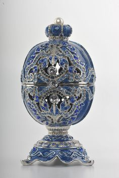 A Decorated Swarovski Faberge Egg Trinket Box.