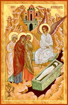 Holy Myrrhbearers at the empty tomb of the Resurrection by Michael Kapeluck