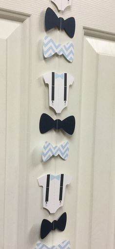 Bow Tie, Suspender Onesie Paper Garland Double-Sided Light Blue and White Chevron Streamer, Baby Shower, Birthday Party, Baby Nursery