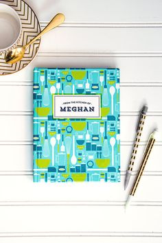 PERSONALIZED In The Kitchen Patterned Journal / Recipe Journal