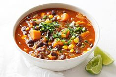 This spicy, satisfying vegetarian soup has a creamy texture, thanks to the black beans. Like all members of the legume family, they're rich in plant protein and dietary fibre – just one cup of cooked black beans contains a massive 16 grams of dietary fibre! They're also low GI, so teamed with sweet potato, this soup is guaranteed to keep you feeling full for longer