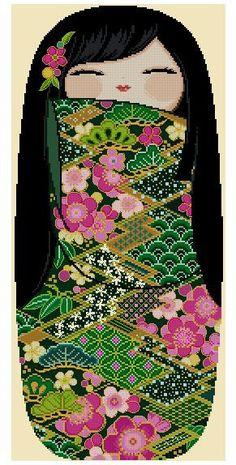 LRG Happy Kokeshi Doll MIDORI Pdf Pattern from by CrossStitchRinna