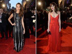 As modernas: Alicia Vikander de Louis Vuitton de couro (!) e Dakota Johnson de vermelho de alcinha... Dior pós-Raf Simons! E aí, o que você achou?