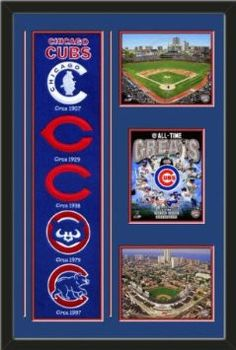 MLB Chicago Cubs Banner With Logos - Wrigley Field 2012 photo, Chicago Cubs All Time Greats Composite photo, Wrigley Field Arial View photo Framed With Different Team Photos-Awesome & Beautiful