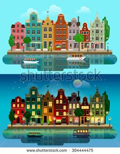 City Landscape Night Flat Stock Vectors & Vector Clip Art | Shutterstock