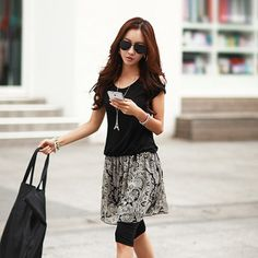 J42978 Chiffon splicing skirt hem short sleeve dress black