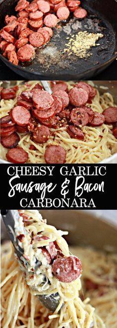 Cheesy Garlic Sausage and Bacon Carbonara (Sausage Recipes) Pork Recipes, New Recipes, Cooking Recipes, Favorite Recipes, Healthy Recipes, Cooking Bacon, Healthy Food, Yummy Recipes, Cooking Tips