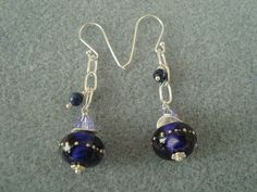 Purple Handblown Lampwork Glass Dangle Earrings with Sterling silver chain and earwires, available on my Rubylane.com Website!