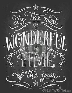 Most Wonderful Time of the Year Personalized Christmas Sign, Festive Wall Decor, Christmas Sign, Holiday - Creative Art - Weihnachten Christmas Quotes, Christmas Signs, Christmas Art, Christmas Decorations, Christmas And New Year, Christmas Shopping, Chalkboard Lettering, Chalkboard Designs, Chalkboard Printable