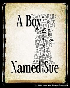 A Boy Named Sue Lyrics  Johnny Cash Word Art  Word by no9images, $15.00