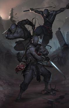 A ninja squad. I'm pinning this because if I was to make a ninja character, I'd… Dark Fantasy, Fantasy Anime, Fantasy Kunst, Medieval Fantasy, Sci Fi Fantasy, Fantasy Warrior, Ninja Kunst, Armadura Ninja, Art Ninja
