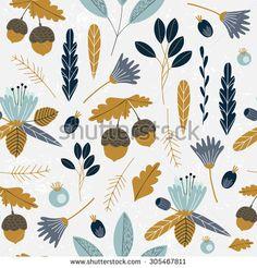 Seamless autumn pattern. Vector illustration.