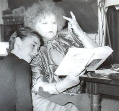 Frech writer Colette and Audrey Hepburn .Colette was instrumental in casting Audrey for her Broadway role of Gigi( written by Collette)