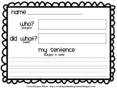 Free Crafting Sentences- to help students write a complete sentence