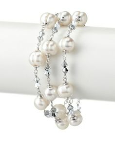 70% OFF Radiance Pearl 9mm Triple Strand White Freshwater Pearl & Crystal Bracelet