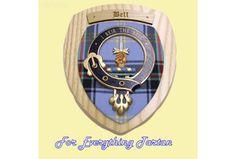 Clan Bell Tartan Woodcarver Wooden Wall Plaque Bell Crest 7 x 8