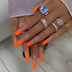 28 Fall Nail Designs & Color Trends To Copy Right Freakin' Now – Long Nail Designs Orange Acrylic Nails, Summer Acrylic Nails, Best Acrylic Nails, Orange Ombre Nails, Summer Nails, Bright Orange Nails, Neon Green Nails, Neon Nails, Pink Tip Nails