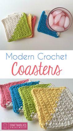 Free Color block Crochet Coasters tutorial || Love this modern crochet pattern!
