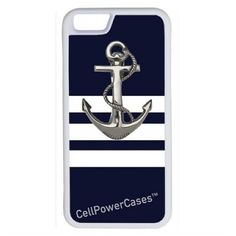 CellPowerCasesTM Navy Stripes Anchor iPhone 6 (4.7) V1 White Case ($9.98) ❤ liked on Polyvore featuring accessories, tech accessories and white
