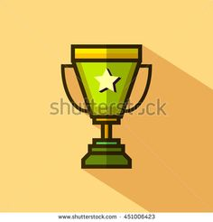 Trophy winner icon flat design with long shadow. Vector illustration. - stock vector