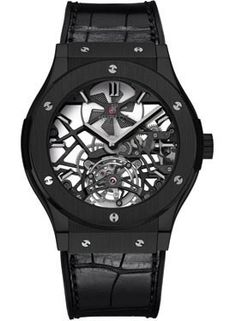 Hublot Classic Fusion Skeleton Dial Black Ceramic Black Leather Automatic Mens Watch 505CM0140LR
