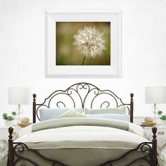 A dreamy dandelion print for bedroom home decor, by Sandie Conry.