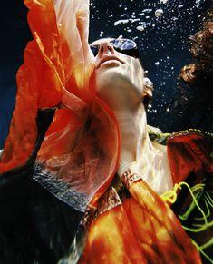 """Fire"" Underwater fashion photography ©peter de mulder"