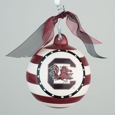 GLORY HAUS USC Stripe Ornament | underthecarolinamoon.com  #USC #Gamecock #Gamecocks #GamecockOrnament #USCOrnamnet #GH #GloryHaus #UTCM #UnderTheCarolinaMoon