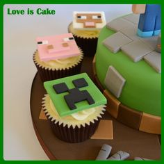Minecraft Cake and Cupcakes - This minecraft cake was made for my own son who is a HUGE fan. All handmade and fully edible, though he won't let us eat 'Steve' or the 'Creeper' :)