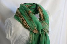 Green Gold and Brown Paisley Print Fashion Scarf by loviebaker, $15.00