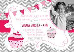 Cupcake First Birthday Party Invitation Cupcake Girl - Chevron Pink Gray - Cupcake Birthday Invite Girl Chevron - Birthday Printable Cupcake