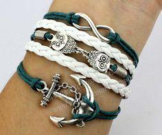 Infinity braceletcute owl braceletanchor by handworld on Etsy, $5.99