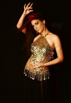 Gold Coin Halter Top. Perfect for belly dancing and performances or clubwear.