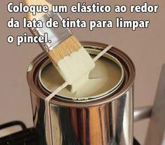 Para não sujar a superfície da lata e não manchar a parte externa! Assim fica mais fácil de identificar a tinta pela lata :)