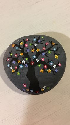 Flower tree, made by me, Sara Lazaro. It was very fun to do, you should try it! I paint the background drab on purpose so that the colorful flowers pop.