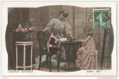 """Carte Postale Ancienne """"leçons de la mère 3."""" 1909 France."""