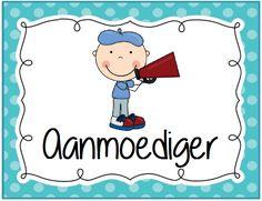 Coöperatieve klastaken kaartje: aanmoediger. Polka dot © Sarah Verhoeven School Organisation, Primary School, Classroom Management, Mickey Mouse, Teacher, Poster, School Organization, Elementary Schools