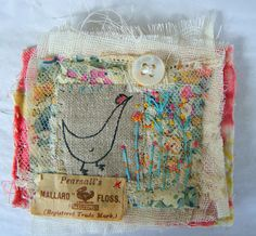 Hand Stitched Brooch ::: Hens teeth